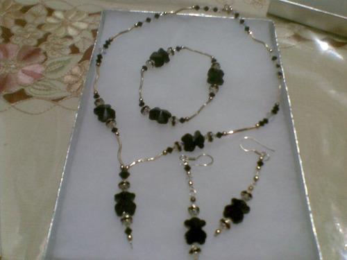 coordinado de aretes, collar, anillo, pulsera de plata osito