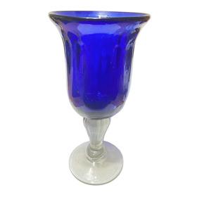 Copa Acanalada Cobalto Artesanal Vidrio Soplado 6 Pack