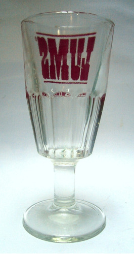 copa grande transparente facetada lums letras rojas