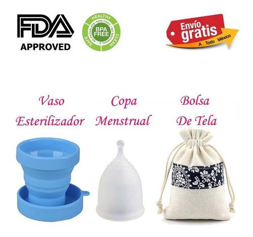 copa menstrual con vaso esterilizador suave silicona medico