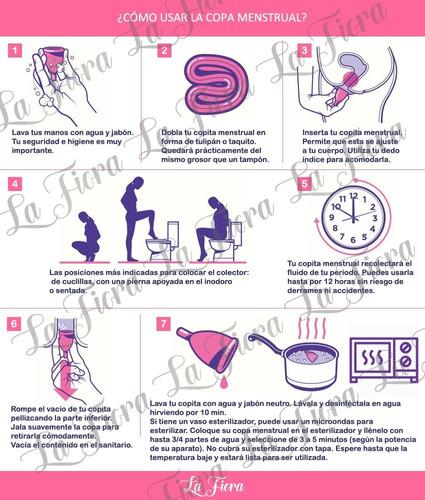 copa menstrual lafiora con vaso estérilizador y bolsa de tela suave certificada fda seguro silicon médico y instructivo