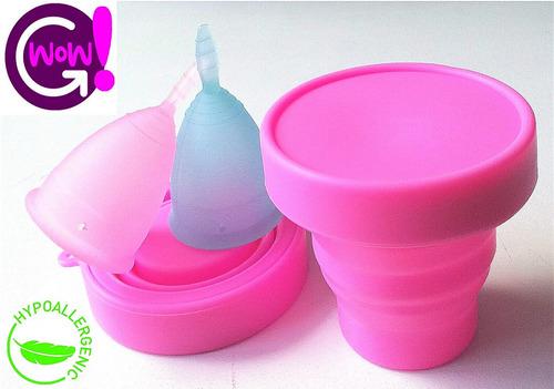 copa menstrual x2 silicona medica soft+vaso esterilizador