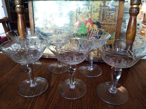 copas 6 de cristal cortado antiguas yungay de champagne