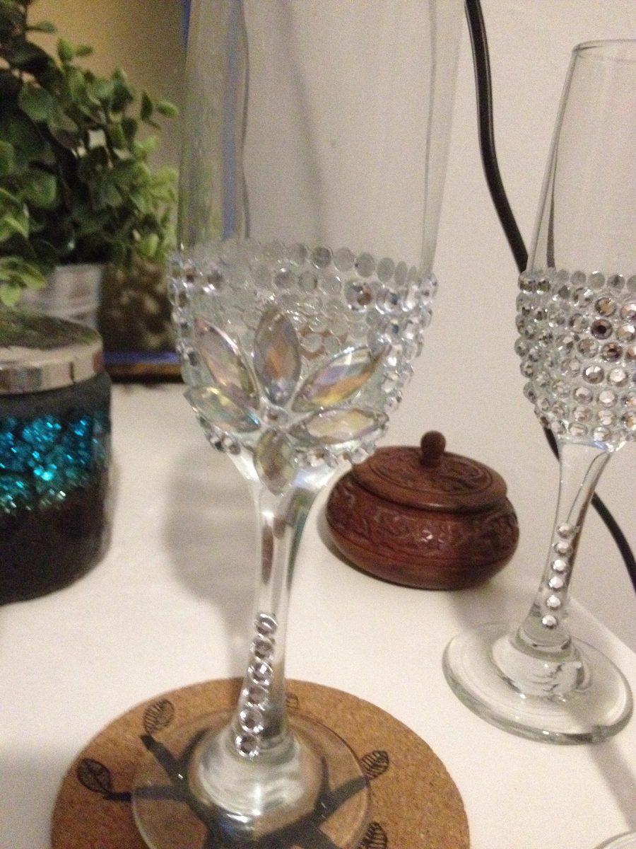 Copas brindis boda quincea era xv a os en - Como decorar copas de cristal ...
