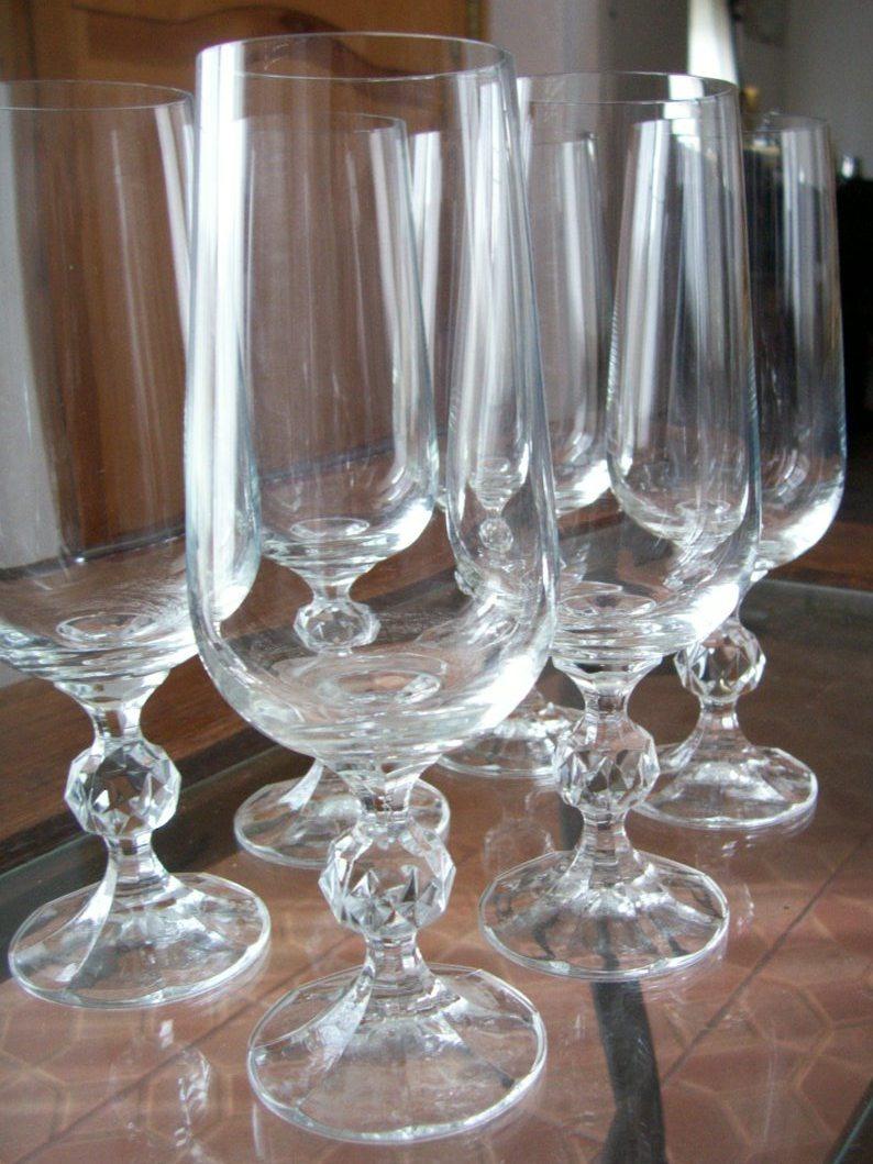 copas cristal de bohemia checoslovakia x lote de 6 1
