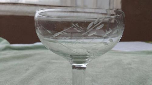 copas cristal talladas antiguas champagne o sidra.
