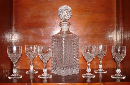copas cristal y licorera cristal tallado 12 copas y licorera