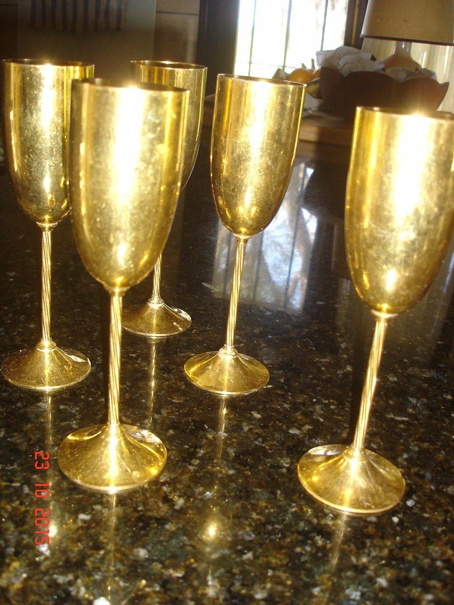 Copas de champagne baniadas en oro juego de 5 copas for Copas para champagne