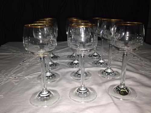 copas de cristal bohemia para licor dulce con bordes de oro