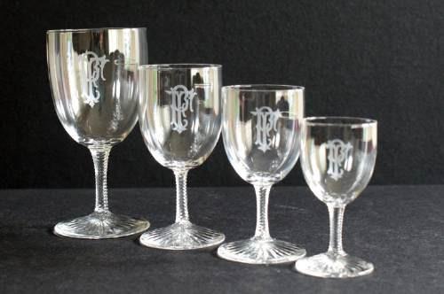 copas francesas cristal diseño baccarat monograma pf, 1920.