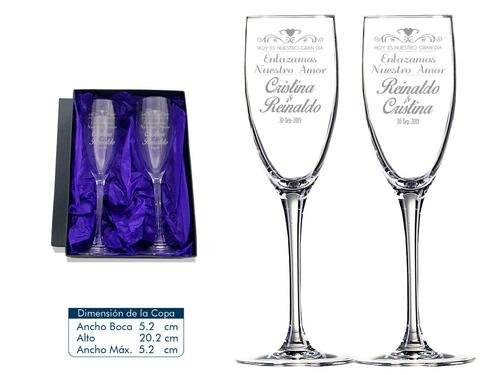 copas matrimonio 2 copas de espumante con caja de regalo