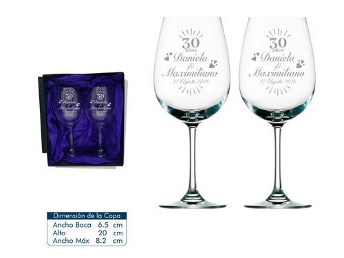 copas para aniversario pack 2 copas de vino mas caja