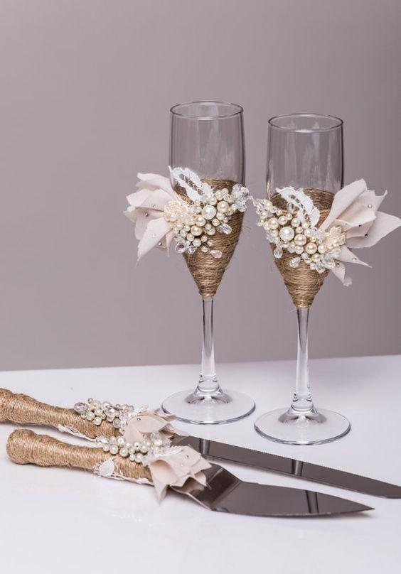 Juego de copas y cubiertos para boda novia xv a os vintage - Como decorar copas para boda ...