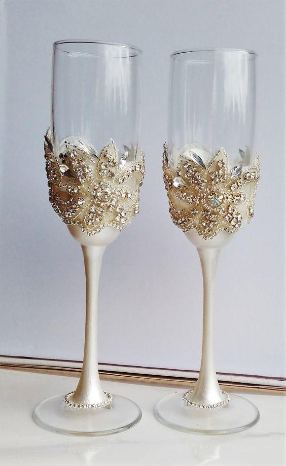 Copas De Cristal Para Brindis Boda Xv Anos Finas Elegantes