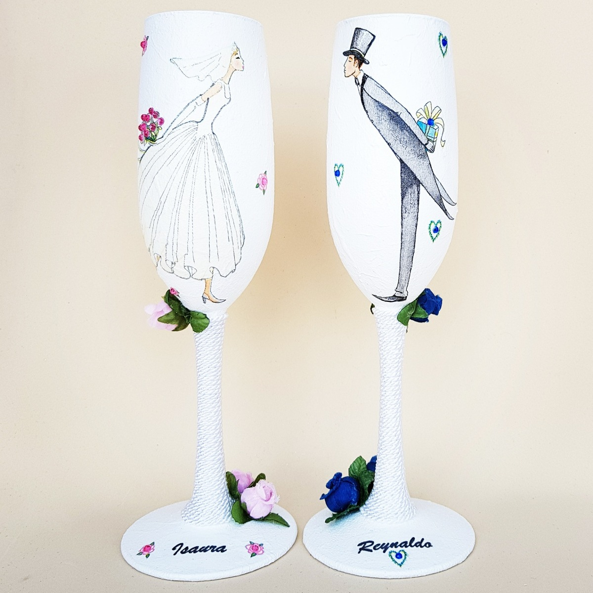 Copas para boda copas para los novios 2 en - Como decorar copas para boda ...