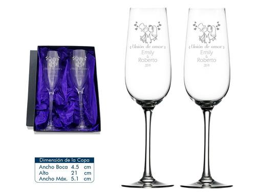copas para matrimonio 2 copas de cristal tipo flauta + caja