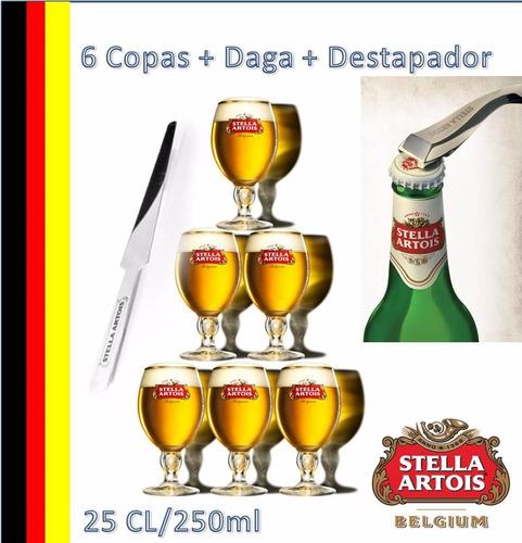 copas stella artois belgium 25cl+daga+destapador