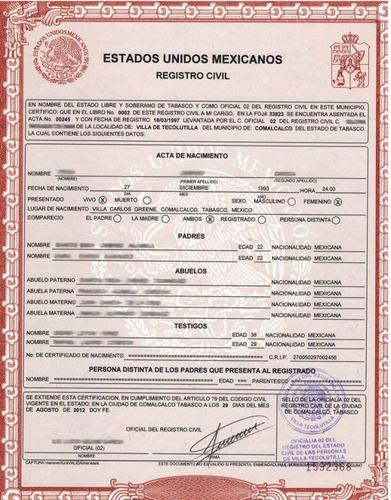 copias certificadas de actas del registro civil