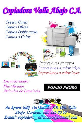 copias fotocopias e impresiones, plastificados,encuadernado,