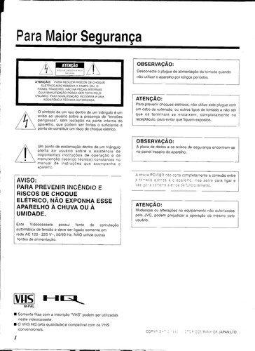 cópias manual vídeo-cassete jvc hr-d991m