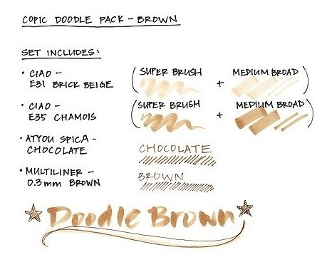 copic set 4 doodle pack brown - cromarti