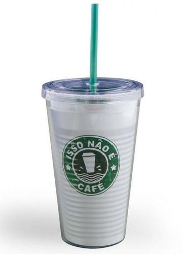 copo acrílico com canudo estilo starbucks isso não é café