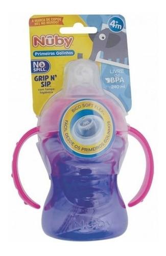 copo bebês com alça antivazamento bico silicone lilás nûby