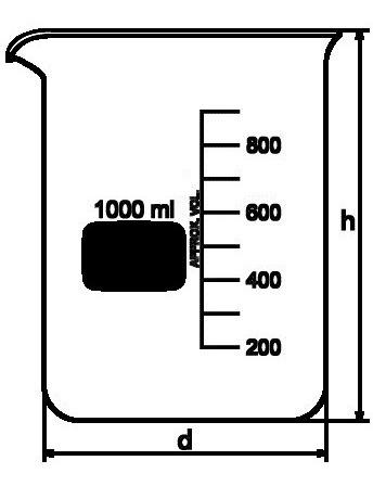 copo becker 600ml de vidro forma baixa bequer