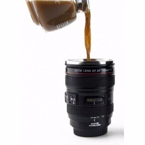 copo caneca termica lente de camera fotografica canon 24-105