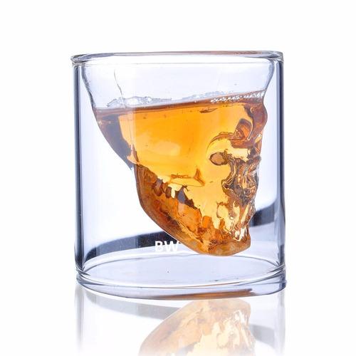 copo caveira shot de vidro cristal skull doomed p/ bar 70ml