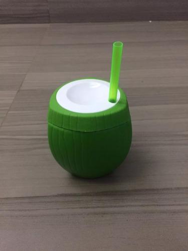 copo com canudo 10 coco verde + 10 melancia decoração festa
