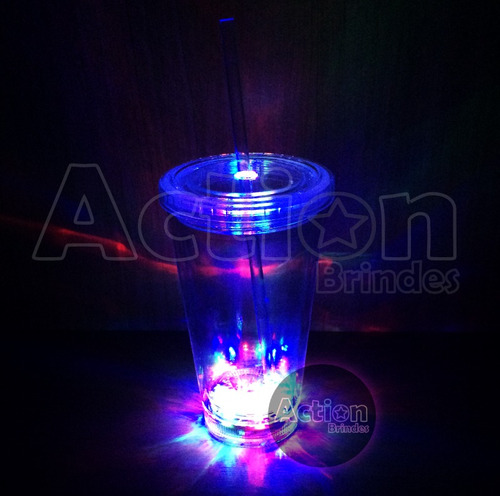 copo de led canudo 500 ml - kit 2 unidades