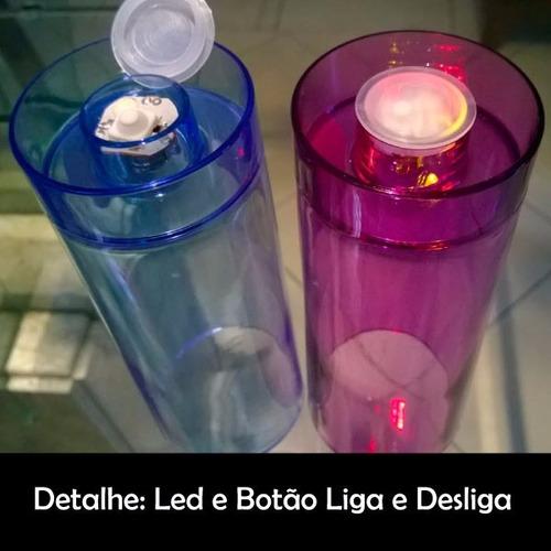 copo de led long drink 350ml personalizado - kit 20 unidades