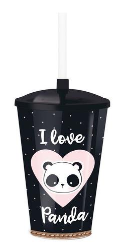 copo plástico 500ml c/tampa/canudo panda dec. festas