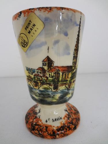 copo taça mazagran faiança pintado a mão saint savin frança
