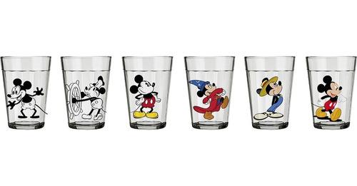 copos mickey disney de coleção linha do tempo 6 peças