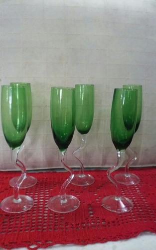 copos taças de cristal pés retorcidos- 6 unidades- lç433