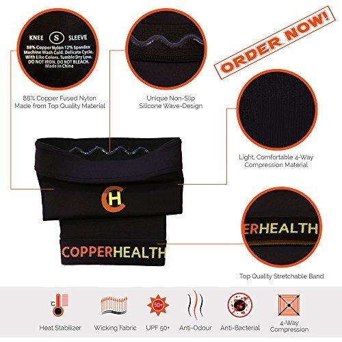 copperhealth unisex manga de rodilla de cobre