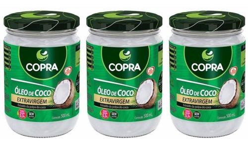 copra óleo de coco extra virgem 500ml (kit c/03)