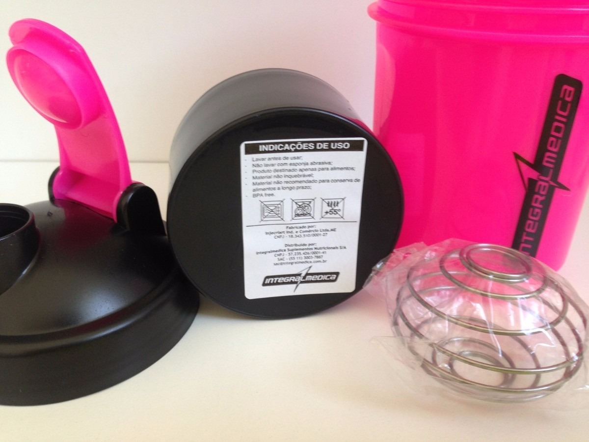 7124f8e5fe coqueteleira 2 doses rosa 400ml + 200ml - integralmédica. Carregando zoom.