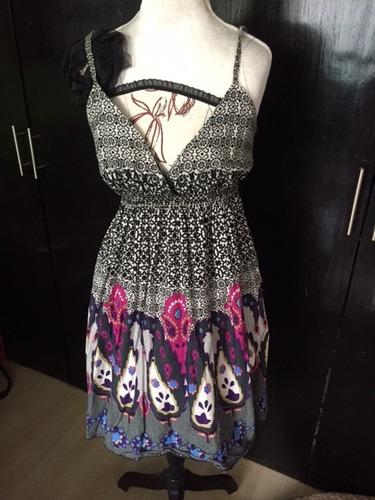 coqueto vestido con diseños en rosa y morado - ive -talla m-