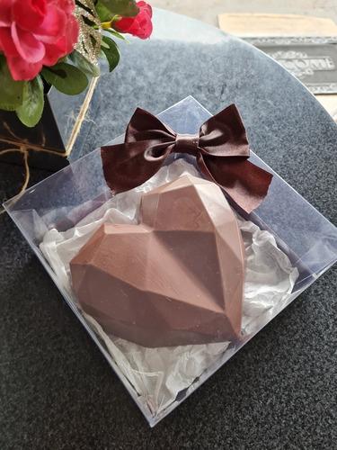 coração lapidado de chocolate, trufado 500  gramas