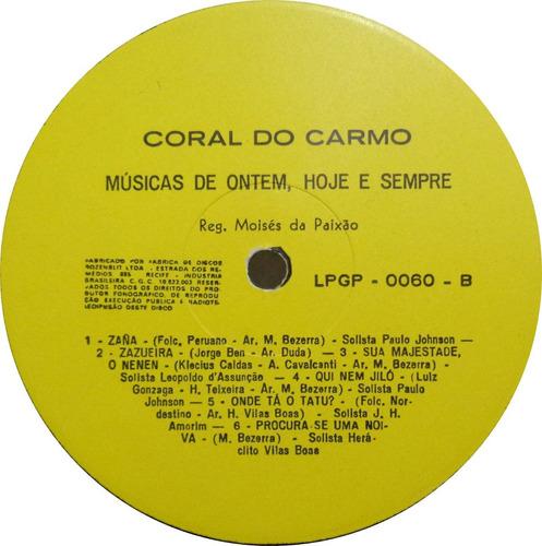 coral do carmo do recife lp usado músicas de ontem hoje e se