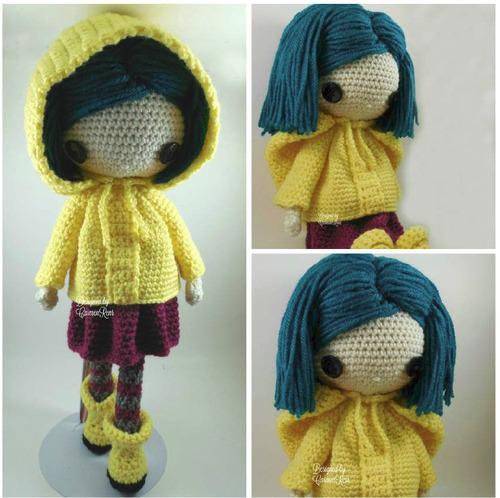 coraline muñeca hecho a mano tejida crochet amigurumi