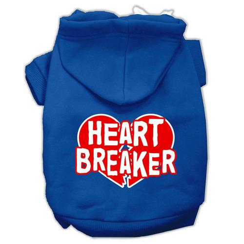corazón breaker pantalla impresión pet hoodies azul tamañ
