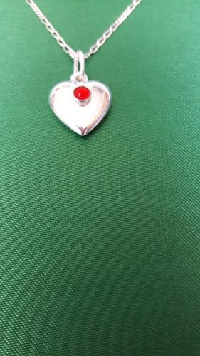corazón colgante centro zirconio de plata 9.25 san valentín