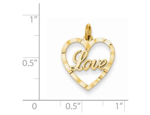 corazón conformado amor colgante collar en 14k amarillo oro