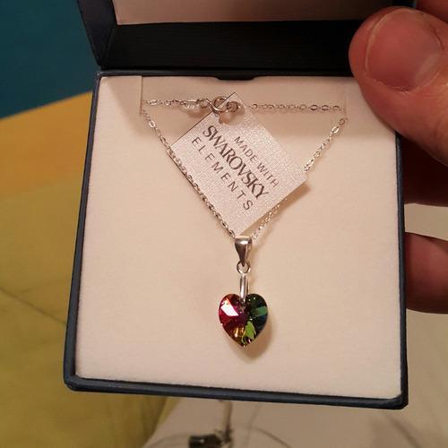 corazón cristal swarovski volcano cadena plata envio gratis