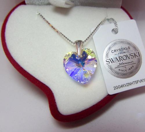 corazón de swarovski ® elements con plata - 14 mm