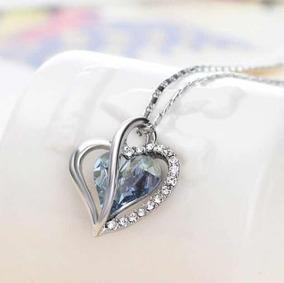 ff988f1aee91 Collar Medalla Corazón Piedra Bañado Oro Blanco 24k Azul. Jalisco · Corazón  Dije Swarovski Elements Cadena Dama Fashion